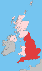 Map of England in the United Kingdom