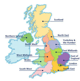 Map showing regions within the UK