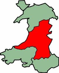 Map of Mid Wales