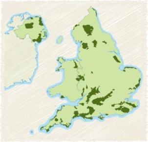 Location of Areas of Outstanding Natural Beauty in the UK