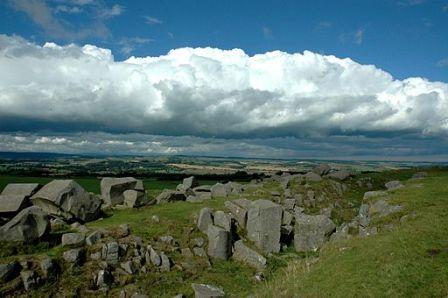 Hadrian's Wall Stones at the Northumberland National Park, Northumberland, England